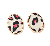 Leopard Print Oval Stud Earrings(Assorted Color)