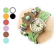 Women's Flower Pattern Leather Analog Quartz Bracelet Watch (Assorted Colors)