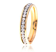 Lureme®Gold Plated Crystals Stainless Steel Ring(Random Size)