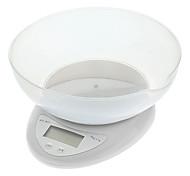 """wh-b05 cocina 1.5 """"LCD de la escala digital de banco con tazón contenedor - blanco (2 x AAA)"""