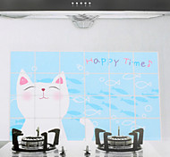 90x60cm Cartoon Cat Pattern Oil-Proof Water-Proof Kitchen Wall Sticker