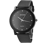 Men's Black Case PU Analog Quartz Wrist Watch (Black)