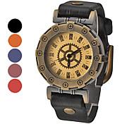 Dial PU pulseira de couro Quartz Relógio de pulso das mulheres do ouro do vintage analógico (Banda Cores sortidas)