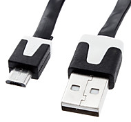 USB 2.0 macho a Micro USB macho de carga de datos de sincronización cable plano (300cm)