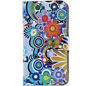 Blooming Chrysanthemums Pattern Full Body Case with Card Slot and Built-in Matte PC Back Cover for iPhone 4/4S