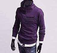 Men's Diagonal Zipper Stand Collar Fleece Sweatshirt(Zipper Random)