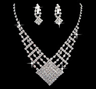 Beautiful Square Silver Alloy Rhinestone Earrings And Necklace