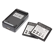 Wall Charger, 2 Batteries for Samsung Galaxy S3 Mini I8190 (1900mah)