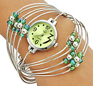 Women's Multi-Strand Rings Bangle Design Green Dial Quartz Analog Wrist Watch Cool Watches Unique Watches