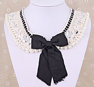 Lace openwork lace bow pearl child doll collar necklace fake collar short paragraph N872