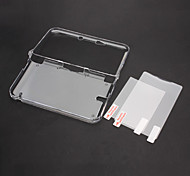 Clear Crystal Case Cover met Top + Bottom LCD Screen Protector voor Nintendo 3DS XL