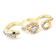 European And American Punk Style Three Diamond-Studded Gold Snake Ring Ring