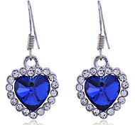Lureme®Heart Shape Glass Rhinestone Earrings