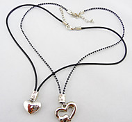 Bouble Heart Titanium Alloy Lover's Jewelry Set Including Two Necklaces