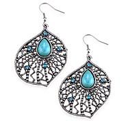 Lussuoso argento grande fiore con cristallo blu e turchese Orecchini ciondolanti