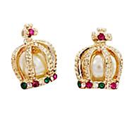 Europäische und amerikanische Schmuck Französisch Hofes und des Adels Perle Kreuz Diamant-Krone Ohrringe E419