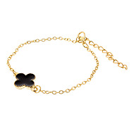 Lucky Clover Black Metal Bracelet