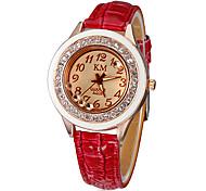 Vrouwen Diamante keramische wijzerplaat pu band quartz analoog horloge (verschillende kleuren)