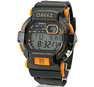 Men's LCD Digital Multi-Functional Square Dial Rubber Band Wrist Watch (Assorted Colors)