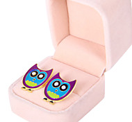 Korean version of the cartoon wild owl metal drip diamond earrings hit color  E948