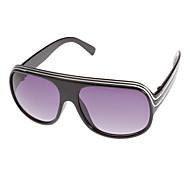 Unisex Gray Lens Black Frame Shield Sunglasses