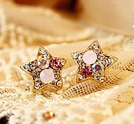 Women's  Colorful cute pentagram diamond  earrings E600