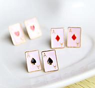 Frauen Poker Form emailliertem Ohrringe (zufällige Farbe)