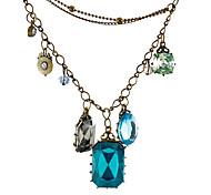 Multi-elemento puro estilo barroco retro suéter cadena collar de la gema N535