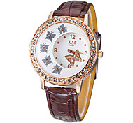 Frauen Diamante Schmetterling Muster Dial PU-Band Quarz Analog-Armbanduhr (farbig sortiert)