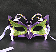 Green&Purple Masquerade Butterfly Retro Halloween Mask with Rhinestone Blue Ribbon