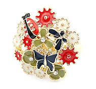 Or bague en diamant ouverture Beetle fleurs fraîches version coréenne de l'afflux de personnes R543