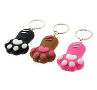 ABS Cat's Paw Style Keychain with LED & Voice (Random Color)