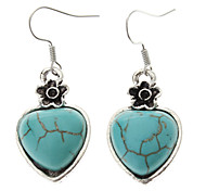 Vintage Heart Green Turquoise Drop Earrings