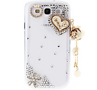 Rhinestone Transparent Pattern Hard Back Case with Pearl Tower for Samsung Galaxy S3 I9300