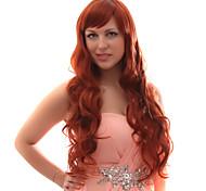 Sin tapa Mixed pelo largo ondulado rojo castaño pelucas de pelo