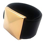 Women's PU Hot Goth Leather Wrap Cuff Woven Colored Wrist Button Buckle Bracelet