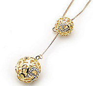 Korea Style Double Hollow Ball Pendant Necklace