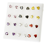 Korea Style Heart love Rhinestone Stud Earrings(Random Color)