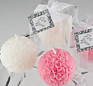 Mini Rose Ball Candle Favor(white)