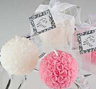 Mini Rose Ball Candle Favor(white)
