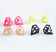 (1 pair) Sweet Alloy Stud Earrings(Golden,Black,Yellow And Pink)