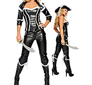 Sexy Pirate Black PU Leather Apparel Women's Halloween Costume