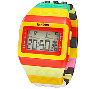 Unisex Block Bricks Style Rectangle LCD Digital Colorful Plastic Band Wrist Watch Cool Watch Unique Watch