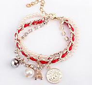 (1 Pc)Fashion 23cm Women's White Pearl Chain & Link Bracelet(Pink,Green)