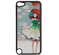 Shimmering A Girl in the Wind and White Cloud Pattern Hard Case for iPod touch 5