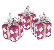 3шт фиолетовый с блестками Подарочная коробка елочных игрушек