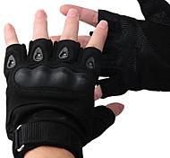 Proteção de fibra de carbono Half-dedo Luvas de Ciclismo (preto)