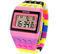 Women's Block Brick Style LCD Digital Colorful Plastic Band Wrist Watch