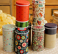 Cylindrical Cartoon Tin Box Desktop Storage Box(Random Color)
