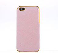 Pink PU Leather Cross pattern Gold Chrome Frame Cover for iPhone 5